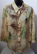 Alfred Dunner Womans Petite Yellow/Brown/Green Floral Button Down Shirt Size 16P