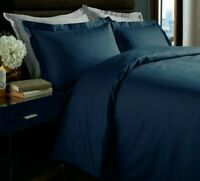 Marlow Home Co. Adria 350 TC Micro Check King Size Duvet Cover Set Navy Blue