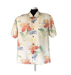 Tommy Bahama Hawaiian Aloha Shirt Silk Large Ivory Floral Men's Camp Button Down