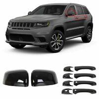 Glossy Black Mirror+Door Handle Covers For Jeep Grand Cherokee & Dodge Durango