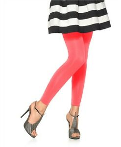 HUE U10951 Neon Red Seamless Super Opaque Footless Tights w/Control Top - $18