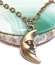 """CRESCENT MOON_Small Bronze Pendant + 18"""" Chain Necklace_Face Night Full Sky_158N"""