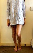 Boyfriend Collared Shirt Dress S 8 10 blue white striped rockabilly pyjama boho