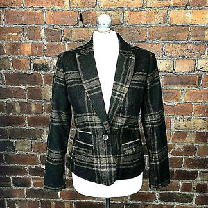 Check Fitted Jacket -Size 8 Winter Country Chocolate Beige Elbow Patches Casual