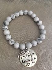 Inspirational Howlite Stone Beaded Bracelet for Illness, Stress, Sympathy Gift