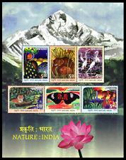 # India 2017 MNH SS, Nature, Peacock, Elephant, Tiger, Butterflies, Water Birds
