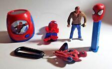 Spiderman Lot~ Projector Night Light +Carbiner Clip +Pez+ Fingerpuppet + Figure