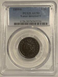 1809/6 1/2C PCGS AU 50 Classic Head Half Cent 9 Over Inverted 9, Half Penny Type