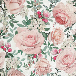 Paper Napkins Pink Roses Luncheon Size Spring Easter Party Decor 20pc