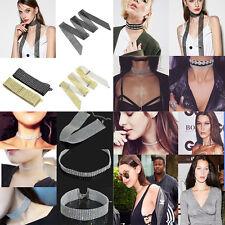 NEW Womens Velvet Jewelry Full Diamond Crystal Rhinestone Collar Choker Necklace