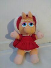 Vintage Baby Miss Piggy Red Velvet Dress Sesame Street Plush Toy Christmas doll