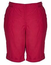 Autograph Pink Raspberry Long roll hem POCKETS  zip front DRILL  SHORTS 22 New