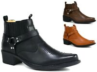 MENS BLOCK HEEL BIKER/ PARTY ANKLE COWBOY BOOT UK SIZES 6-11