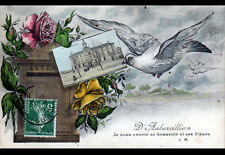AUBERVILLIERS (93) COLOMBE & BOITE aux LETTRES de la MAIRIE / SOUVENIR de 1909