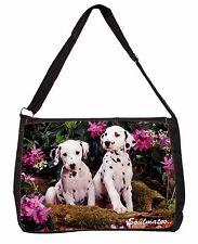 Dalmatian Puppy Dogs 'Soulmates' Large Black Laptop Shoulder Bag Scho, SOUL-28SB