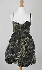 ALL SAINTS Size 8 Sora Pirra Black Cream Print Hitch Bustle Corset Bubble Dress