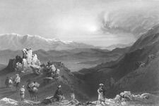 Anti Lebanon Range, MOUNT HERMON MOUNTAIN OF SHEIKH ~ 1837 Art Print Engraving