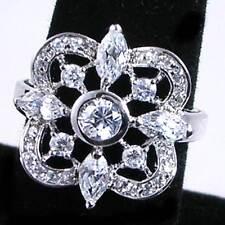 ELEGANT LACE DESIGN_BRILLIANT CZ RING_SZ-8__925 STERLING SILVER_Wedding - Bridal