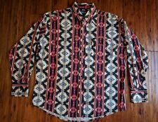 VTG 90's Wrangler Mens Aztec Southwestern Native Pearl Snap Shirt XL