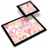 Glass Placemat  & Coaster - Watercolour Love Heart Pattern Print  #46411