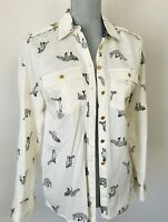 Jaclyn Smith Fox Button Up Shirt Top Long Sleeve Ivory Sz S Career Woods Novelty