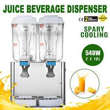 Double 9.5 Gallon Beverage Machine Juice Dispenser Ice Tea Juice Slush