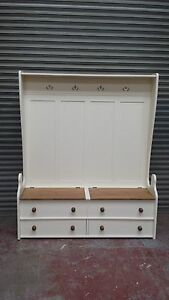 solid pine cream/white bench with coat hanging and shoe storage made to measure