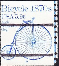 US - 1982 - 5.9 Cents Blue 1870's Bicycle Precancel Coil Single #1901a Plate #4