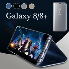 Samsung Galaxy S8 S9 Plus Note 8 Clear View Mirror Leather Flip Stand Case Cover