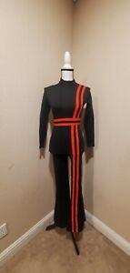 vintage 80s dansco black velvet sleeveless shoulderless bell bottom jumpsuit bodysuit made in usa