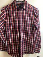 Nautica Boys Button Up Plaid Shirt Long Sleeve Red Blue White Cotton 14