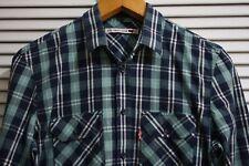 Levis *** Para hombres Mangas Largas Camisa de cuadros Excelente UK Tamaño M Mediano
