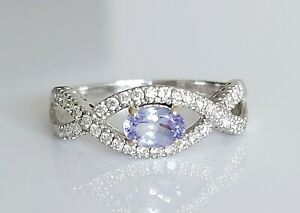 Beautiful 18ct White Gold Tanzanite & Diamond Cluster Engagement Ring UK P/Q