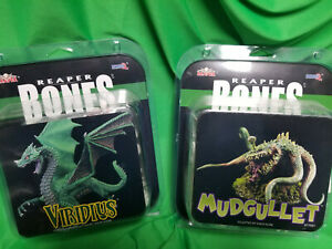 Reaper Bones Miniatures Mudgullet & Viridius Unpainted Mini #77555 &77581 7B3