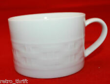 Crate and Barrel Basketweave Embossed White Coffee Tea Cup Made in Japan Sticker