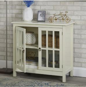 Small Glass Door Cabinet Display Antique White Wood 2 Door 2 Shelf Curio Buffet