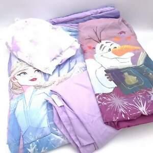Disney Frozen II Twin Toddler Comforter 4 Piece Set Lavender Light Blue