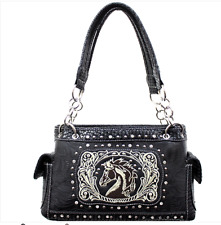 GUN BAG WESTERN HORSE HEAD DESIGN HANDBAG CONCEALED CARRY HANDGUN PURSE BLACK