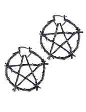 Restyle Branch Pentagram Star Symbol Antique Silver Hoop Occult Witch Earrings