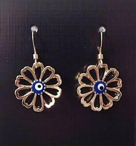 Evil Eye Flower Earrings, Turkish Evil Eye Amulet, Nazar. Gold Filled Ear Hooks