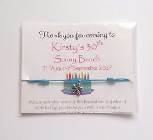 Personalised children's Birthday Party favour wish bracelet Hen party favour