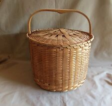 Antique American Splint Feather Basket with Attached Cover