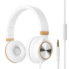 RockPapa Foldable DJ Headphones Headset for iPad iPod iPhone DVD VR White Gold