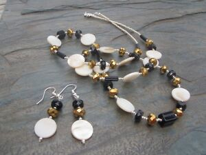 Handmade Necklace and Earrings Set Black, Gold, & Silver Glass Beads with Shell