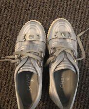 Authentic Chanel Shoes, Silver Textile Platform Fashion Sneaker Woman Sz 38 1/2