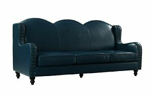 Leather Sofa 3 Seater, Living Room Couch, Loveseat for 3, Nailheads, Blue