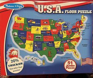 Melissa & Doug U.S.A. (United States) Map Floor Puzzle - 51 Pieces NEW NIP
