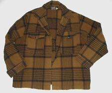 PENDLETON Vtg WOOL Jac Shirt Jacket BROWN/BLACK Plaid Hunting MISSING BUTTONS XL