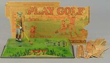 "1920's Ferdinand Strauss Golfer Wind Up Game ""Play Golf"" w/Flat Box Pieces"