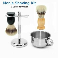 Mens Shaving Badger Hair Brush +Razor Stand Holder +Bowl Mugs Cup Grooming Set